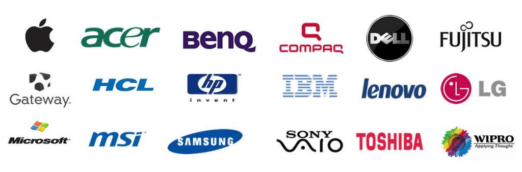 HP, Apple, Lenovo, Dell, Toshiba, Compaq, Microsoft, Intel, Cisco, Ubiquiti, TP-Link, Asus, Gigabyte, Samsung, Kingston, BenQ,